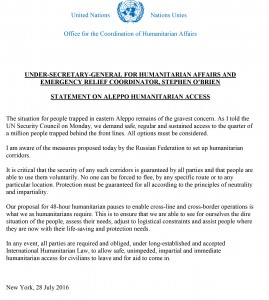 ERC_USG Stephen O'Brien Statement on Aleppo, Syria 28July2016